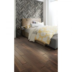 Bed with Fusion Herringbone Mosaic | hardwood | flooring | Baycountryfloors